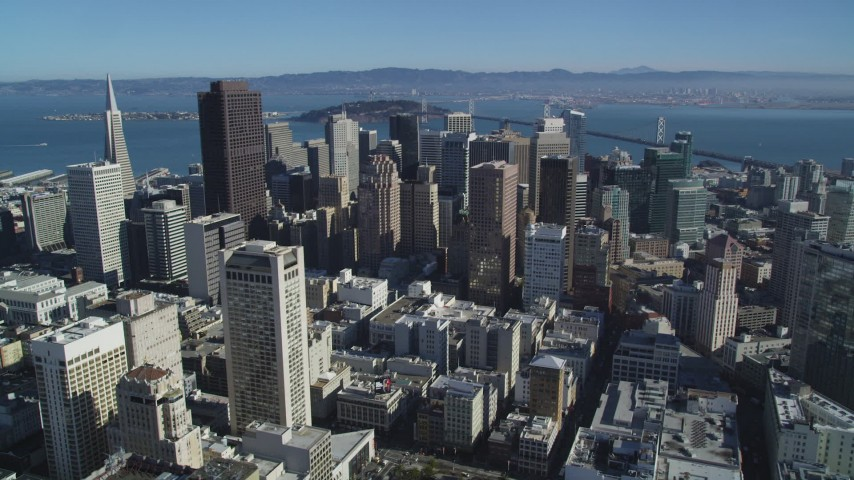 5K aerial video of the city's giant skyscrapers in Downtown San Francisco, California Aerial Stock Footage | DFKSF05_081