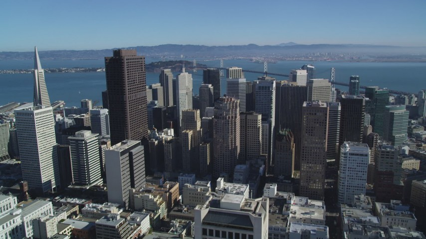 5K stock footage aerial video of approaching the city's skyscrapers, Downtown San Francisco, California Aerial Stock Footage | DFKSF05_082