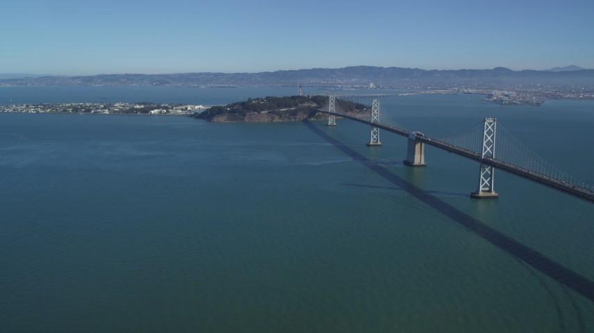 5K stock footage aerial video of a view of the Bay Bridge, Yerba Buena Island, Treasure Island in San Francisco, California Aerial Stock Footage | DFKSF05_086