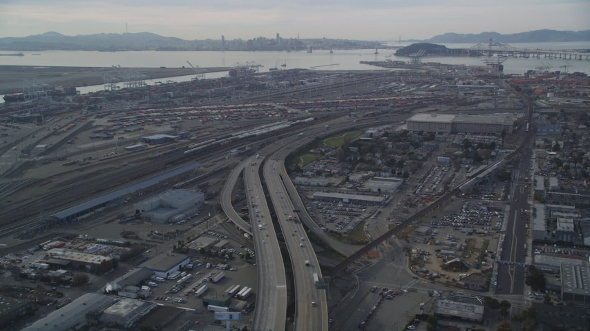 5K stock footage aerial video fly over I-880 freeway approaching the Port of Oakland, California Aerial Stock Footage | DFKSF06_012