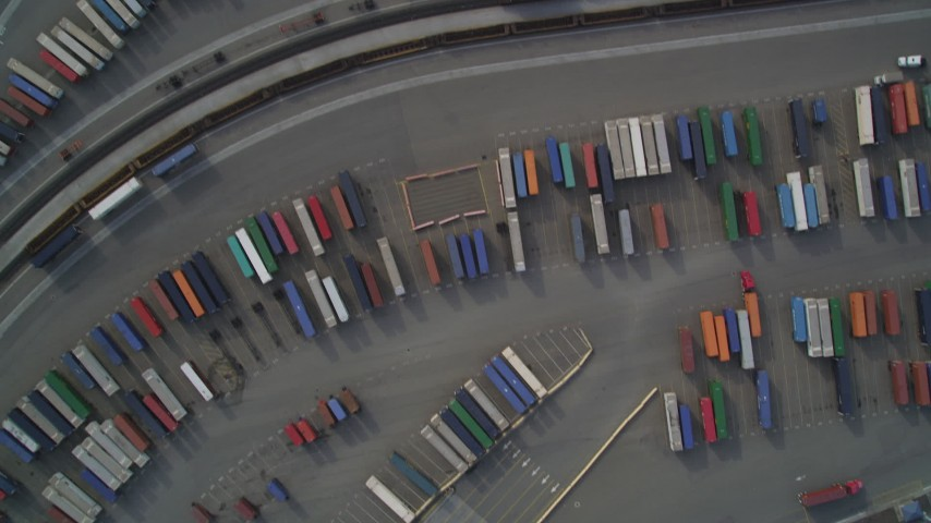 5K stock footage aerial video of a bird's eye view of shipping containers at the Port of Oakland, California Aerial Stock Footage | DFKSF06_014