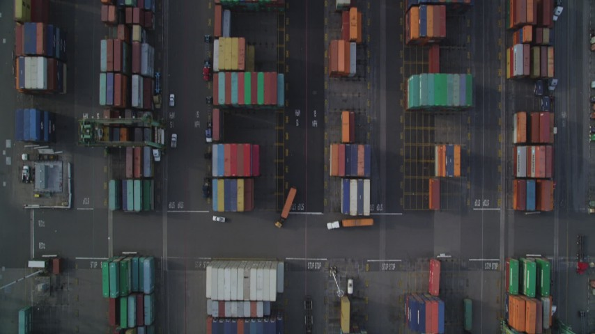 5K stock footage aerial video of bird's eye view of Port of Oakland shipping containers, California Aerial Stock Footage | DFKSF06_015