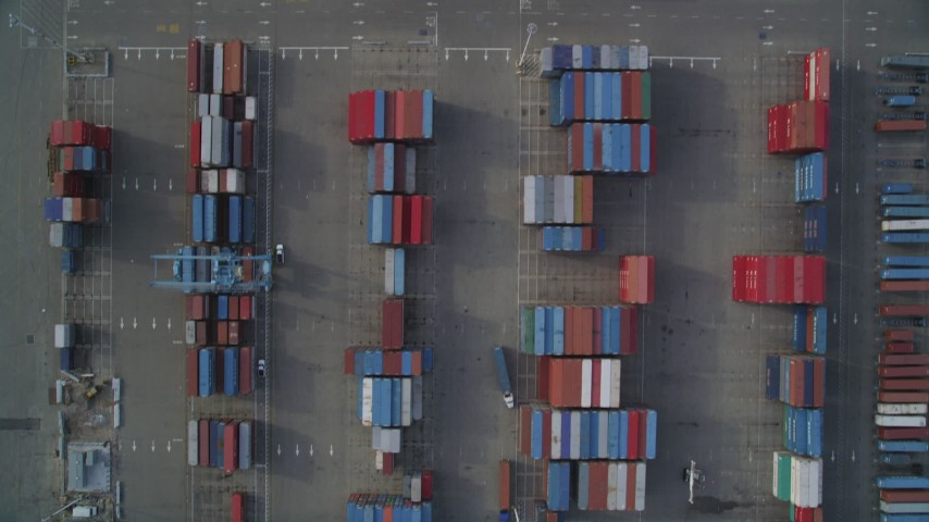 5K stock footage aerial video of bird's eye view of Port of Oakland shipping containers, California Aerial Stock Footage | DFKSF06_016