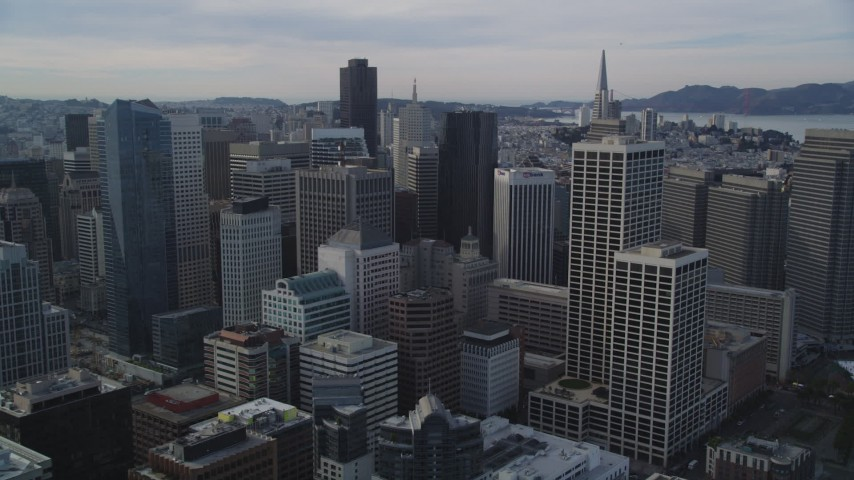 5K stock footage aerial video of approaching the city's tall skyscrapers, Downtown San Francisco Aerial Stock Footage | DFKSF06_027