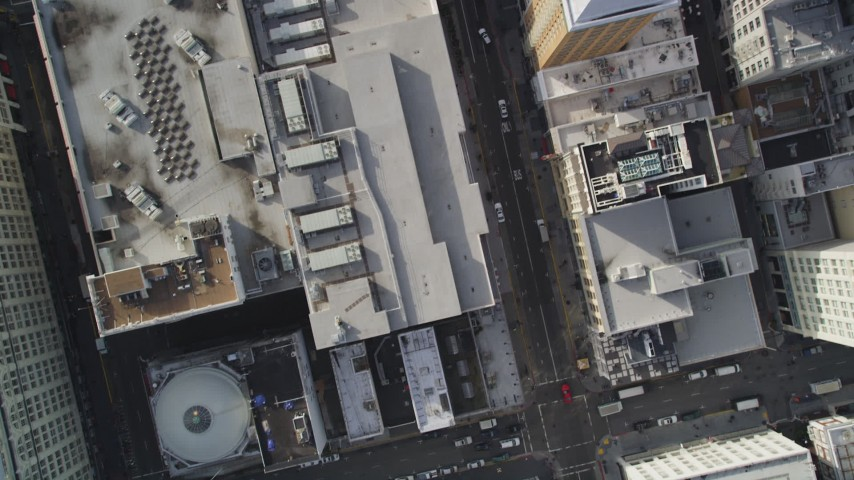 5K stock footage aerial video of a bird's eye view of city streets, reveal Union Square, Downtown San Francisco, California Aerial Stock Footage | DFKSF06_033