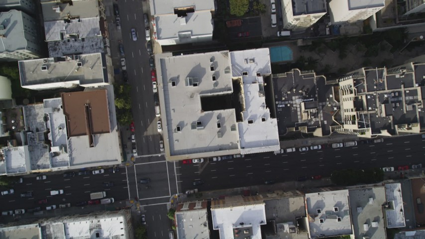 5K stock footage aerial video of a bird's eye view of city streets and buildings in Nob Hill, San Francisco, California Aerial Stock Footage | DFKSF06_038