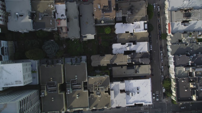 5K stock footage aerial video of bird's eye view of Nob Hill district streets and buildings, San Francisco, California Aerial Stock Footage | DFKSF06_040