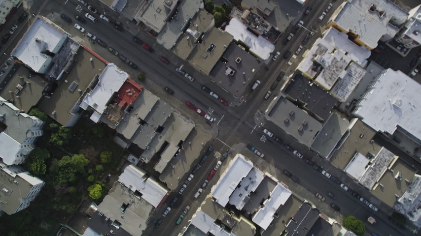 5K stock footage aerial video of a bird's eye view of city streets and rooftops in the Nob Hill district, San Francisco, California Aerial Stock Footage | DFKSF06_041
