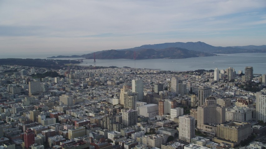 5K stock footage aerial video pan across Nob Hill and Russian Hill office and apartment buildings, San Francisco, California Aerial Stock Footage | DFKSF06_049