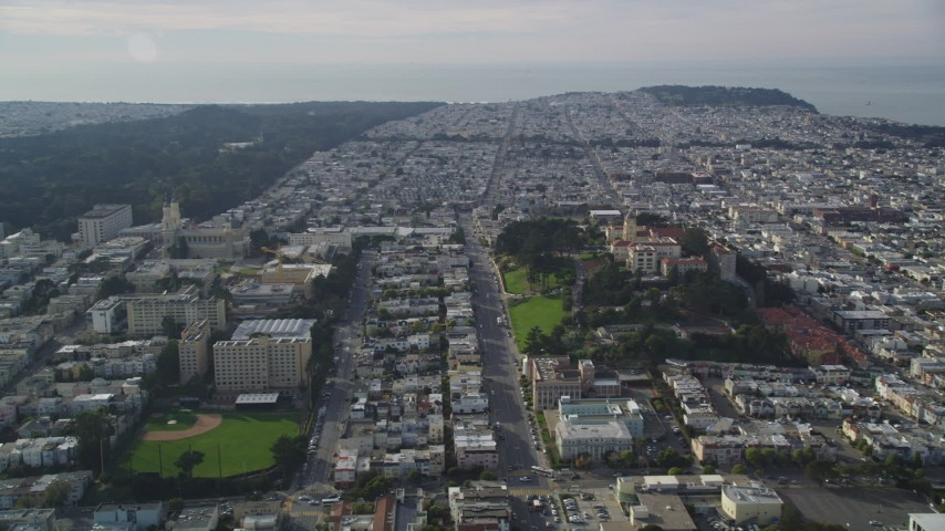 5K stock footage aerial video of the University of San Francisco in Western Addition, California Aerial Stock Footage | DFKSF06_053