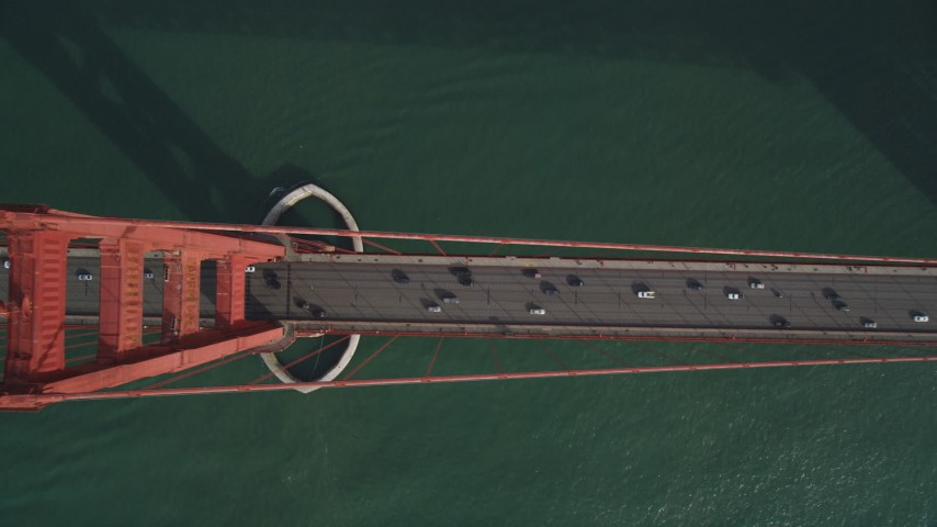 5K aerial video of a bird's eye view of traffic on the famous Golden Gate Bridge, San Francisco, California Aerial Stock Footage DFKSF06_087