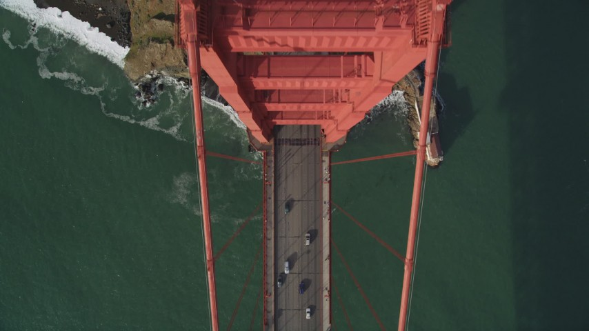 5K stock footage aerial video of a bird's eye view of traffic on the Marin side of Golden Gate Bridge, San Francisco, California Aerial Stock Footage DFKSF06_091 | Axiom Images