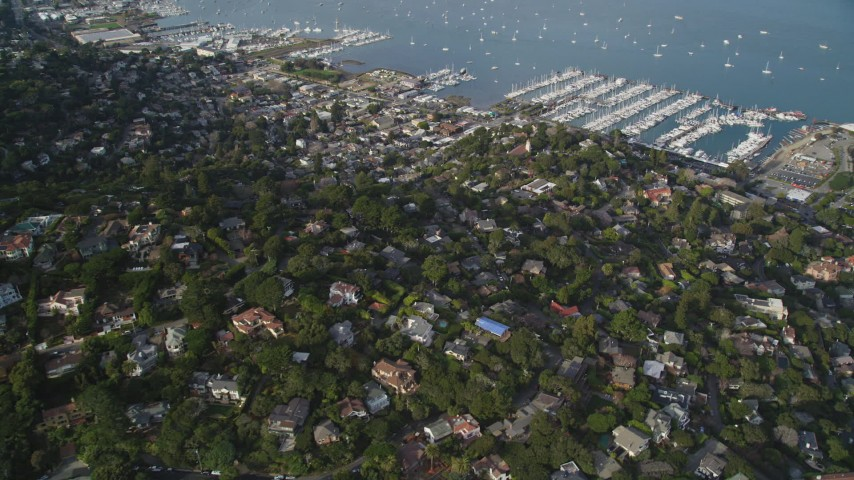 5K stock footage aerial video approach Sausalito and Richardson Bay, Sausalito, California Aerial Stock Footage | DFKSF06_094
