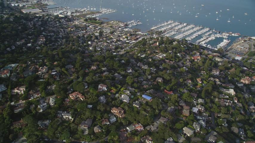5K aerial video approach Sausalito and Richardson Bay, Sausalito, California Aerial Stock Footage | DFKSF06_094