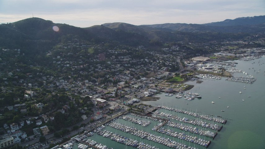 5K stock footage aerial video of the coastal community and marinas by Richardson Bay, Sausalito, California Aerial Stock Footage | DFKSF06_096