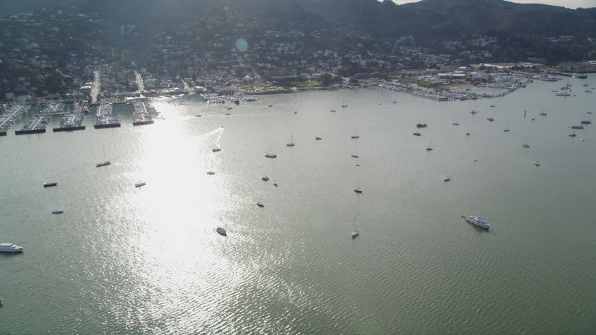 5K stock footage aerial video flyby marinas and sailboats on Richardson Bay by Sausalito, California Aerial Stock Footage | DFKSF06_097