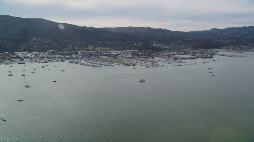 5K stock footage aerial video flyby sailboats on Richardson Bay and approach a marina, Sausalito, California Aerial Stock Footage | DFKSF06_098