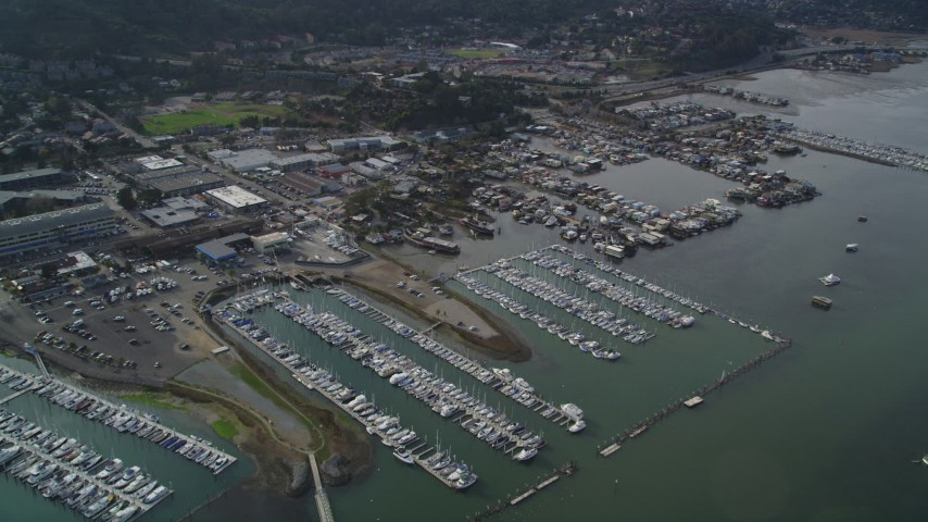 5K stock footage aerial video approach a marina and houseboats on Richardson Bay, Sausalito, California Aerial Stock Footage | DFKSF06_099