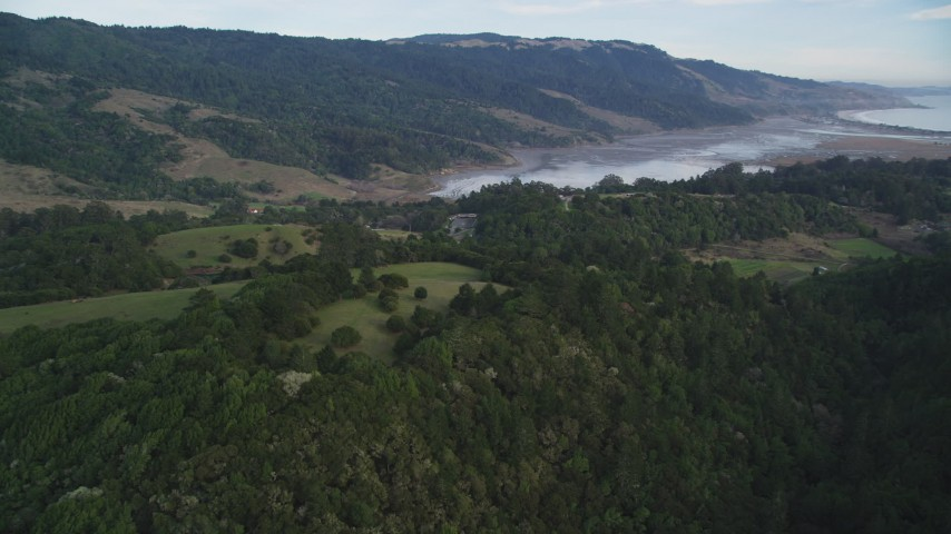 5K stock footage aerial video of approaching Bolinas Lagoon, Bolinas, California Aerial Stock Footage | DFKSF06_140