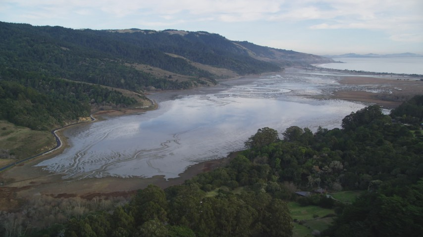 5K stock footage aerial video of approaching Bolinas Lagoon, Bolinas, California Aerial Stock Footage | DFKSF06_141