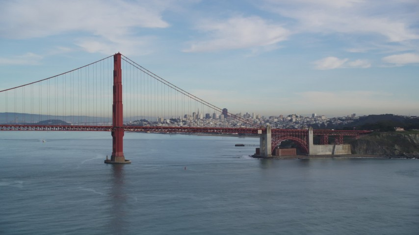 5K stock footage aerial video approach Golden Gate Bridge and Downtown San Francisco skyline, California Aerial Stock Footage | DFKSF06_162