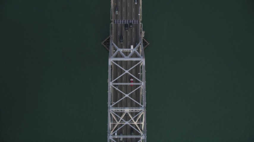 5K stock footage aerial video of a bird's eye view of the upper deck of Bay Bridge, San Francisco, California Aerial Stock Footage | DFKSF06_184