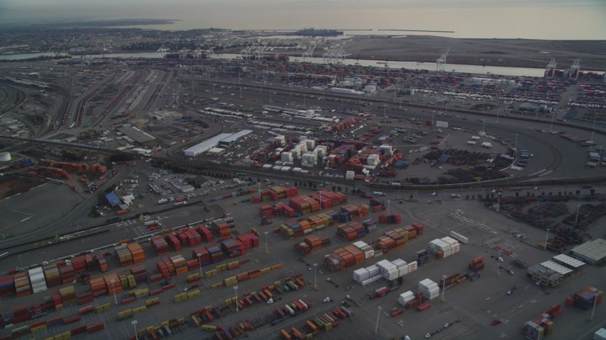 5K stock footage aerial video of rows of shipping containers at the Port of Oakland, California Aerial Stock Footage | DFKSF06_187