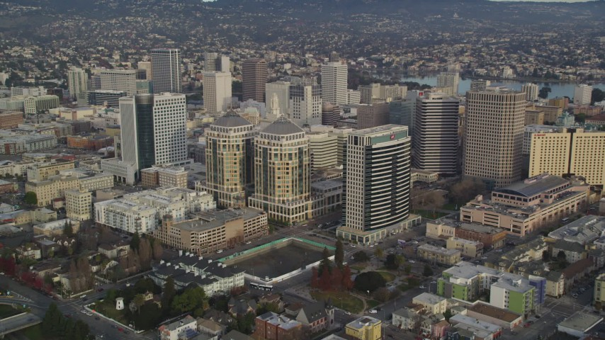 5K stock footage aerial video of approaching federal and office buildings in Downtown Oakland, California Aerial Stock Footage | DFKSF06_188