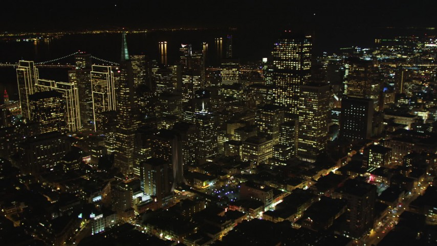 5K stock footage aerial video of tilting from Chinatown to reveal skyscrapers in Downtown San Francisco, California, night Aerial Stock Footage | DFKSF07_015
