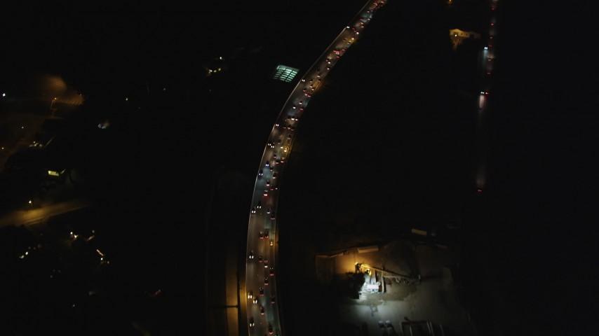 5K stock footage aerial video of a bird's eye of Highway 101 freeway through The Presidio, San Francisco, California, night Aerial Stock Footage | DFKSF07_032