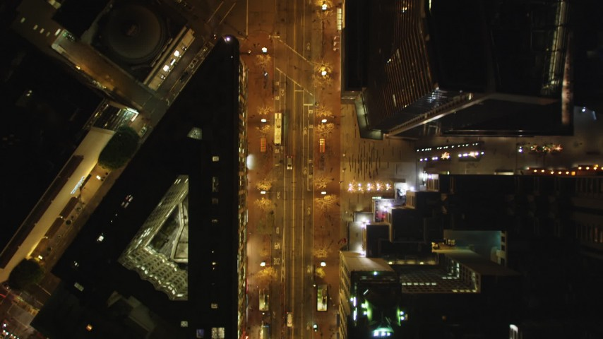 5K stock footage aerial video of a bird's eye view of Market Street, Downtown San Francisco, California, night Aerial Stock Footage | DFKSF07_056