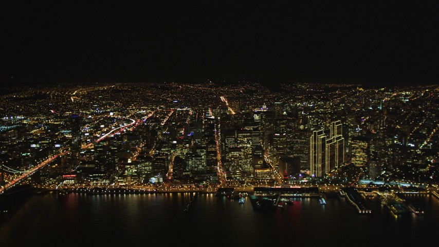 5K stock footage aerial video of downtown skyscrapers seen from high altitude, Downtown San Francisco, California, night Aerial Stock Footage | DFKSF07_062