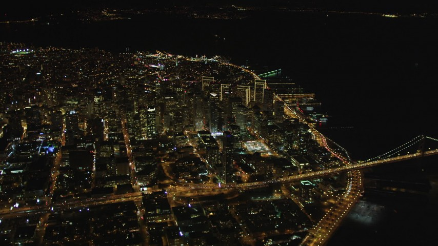 5K stock footage aerial video of a view of Downtown San Francisco skyscrapers seen from South of Market, California, night Aerial Stock Footage | DFKSF07_067