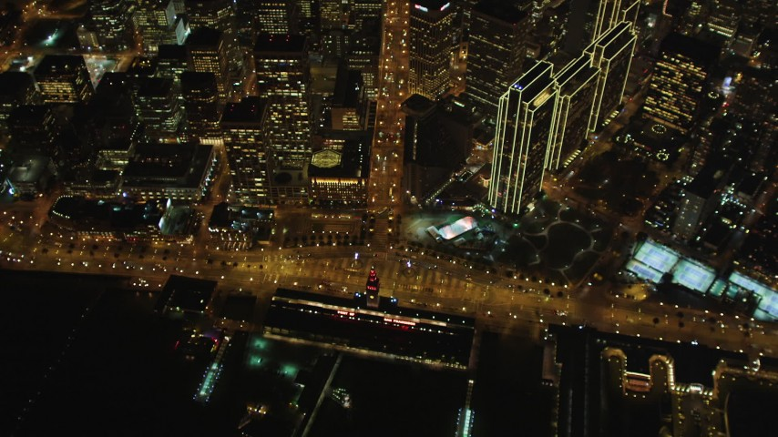 5K stock footage aerial video of a bird's eye of Ferry Building, Embarcadero, Market St, Downtown San Francisco, night Aerial Stock Footage | DFKSF07_070