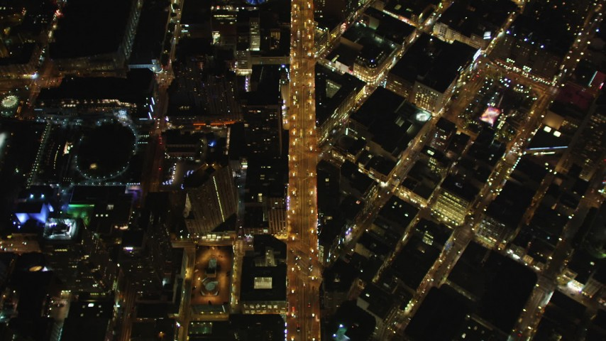 5K aerial stock footage video of a bird's eye view of Market Street, Union Square, Downtown San Francisco, California, night Aerial Stock Footage | DFKSF07_073