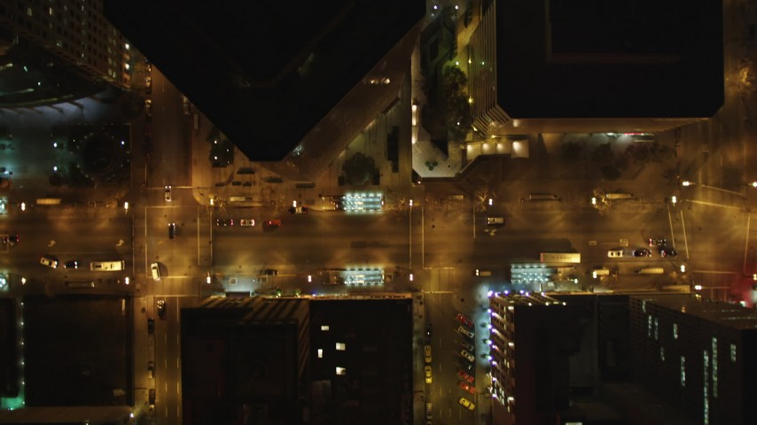 5K stock footage aerial video of a bird's eye view of city streets in Downtown Oakland, California, night Aerial Stock Footage | DFKSF07_083