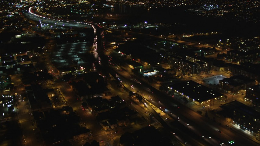 5K stock footage aerial video of light traffic on I-880 freeway, Oakland, California, night Aerial Stock Footage | DFKSF07_084