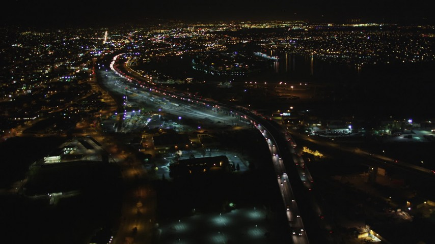 5K aerial stock footage video of following I-880 freeway, Oakland, California, night Aerial Stock Footage | DFKSF07_085