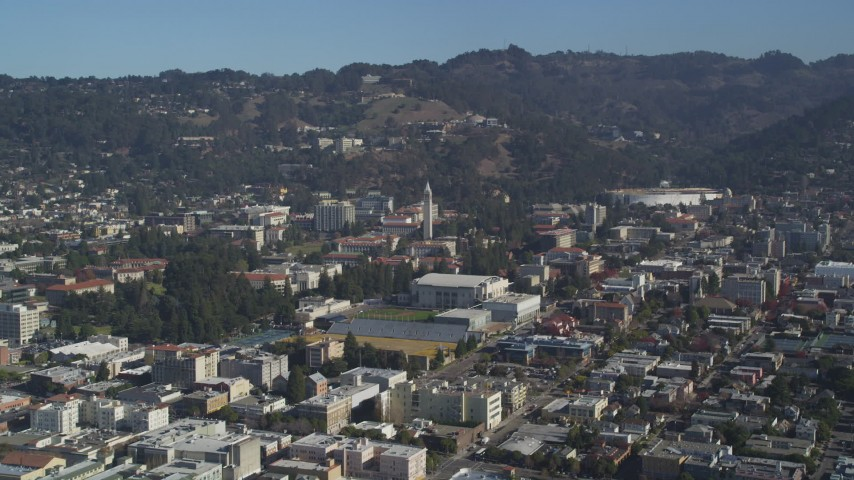 5K stock footage aerial video of approaching Sather Tower and University of California Berkeley, Berkeley, California Aerial Stock Footage | DFKSF08_004