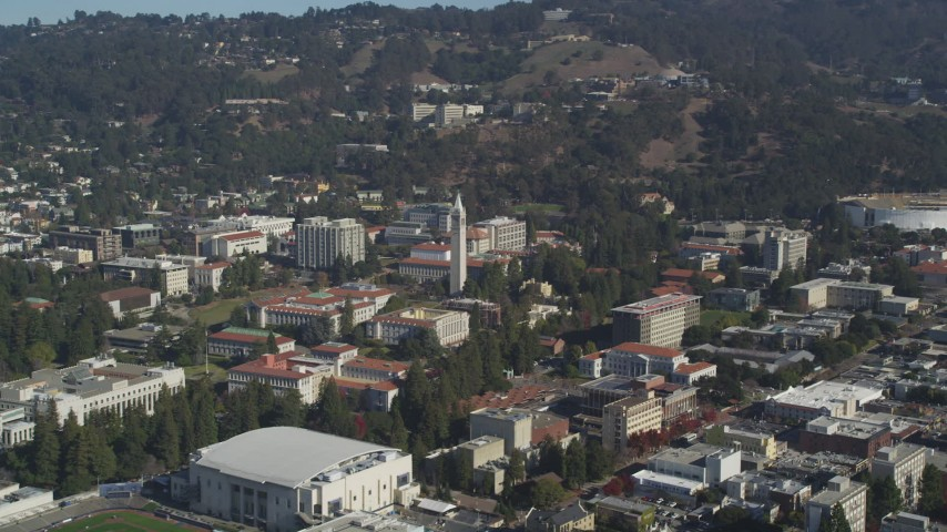 5K stock footage aerial video of an approach to Sather Tower at the University of California Berkeley, California Aerial Stock Footage | DFKSF08_005