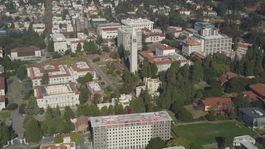 5K stock footage aerial video of flying by the Sather Tower at University of California Berkeley, Berkeley, California Aerial Stock Footage | DFKSF08_006