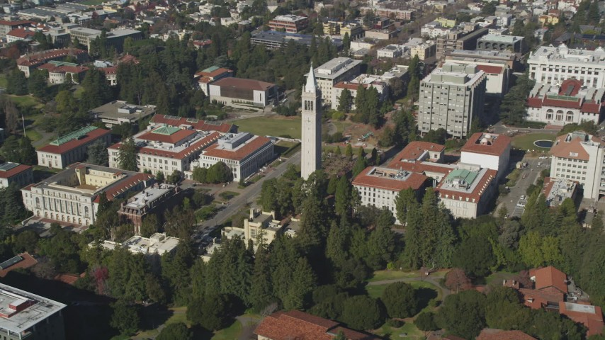 5K stock footage aerial video of an orbit of Sather Tower and University of California Berkeley, Berkeley, California Aerial Stock Footage DFKSF08_007 | Axiom Images