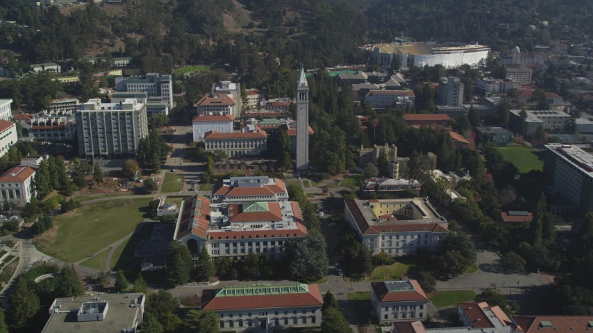 5K stock footage aerial video of circling Sather Tower and University of California Berkeley, Berkeley, California Aerial Stock Footage | DFKSF08_009
