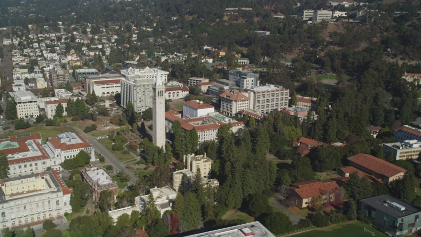 5K stock footage aerial video of passing by Sather Tower and University of California Berkeley, Berkeley, California Aerial Stock Footage | DFKSF08_011