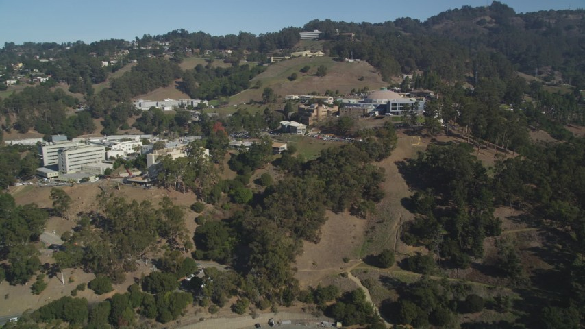 5K stock footage aerial video of approaching Lawrence Berkeley National Laboratory, Berkeley, California Aerial Stock Footage | DFKSF08_017