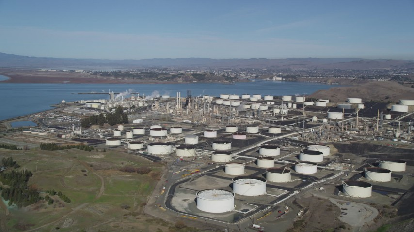 5K stock footage aerial video of flying by the ConocoPhillips Oil Refinery, Rodeo, California Aerial Stock Footage | DFKSF08_023