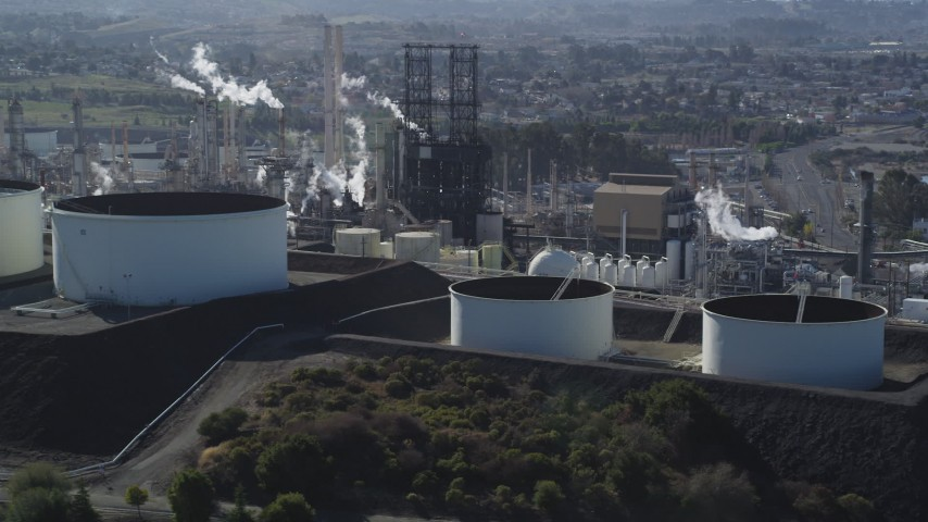 5K stock footage aerial video of flying by the ConocoPhillips Oil Refinery, Rodeo, California Aerial Stock Footage | DFKSF08_027