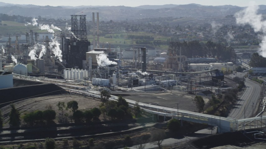 5K stock footage aerial video of passing by the ConocoPhillips Oil Refinery, Rodeo, California Aerial Stock Footage | DFKSF08_028