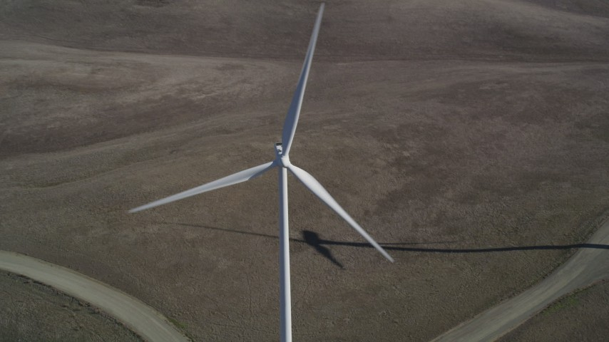 5K stock footage aerial video approach and flyby a windmill at Shiloh Wind Power Plant, Montezuma Hills, California Aerial Stock Footage | DFKSF08_074