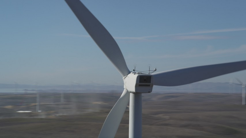 5K stock footage aerial video of circling the top of windmill, Shiloh Wind Power Plant, Montezuma Hills, California Aerial Stock Footage | DFKSF08_091